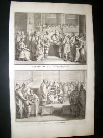 Picart C1730 Folio Antique Print. Religious Catholic Confirmation